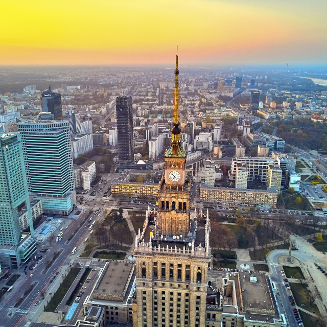 """WARSAW, POLAND - APRIL 07, 2019: Beautiful panoramic aerial drone view to the center of Warsaw City and Palace of Culture and Science and ""Zlota 44"" designed by architect Daniel Libeskind"" stock image"