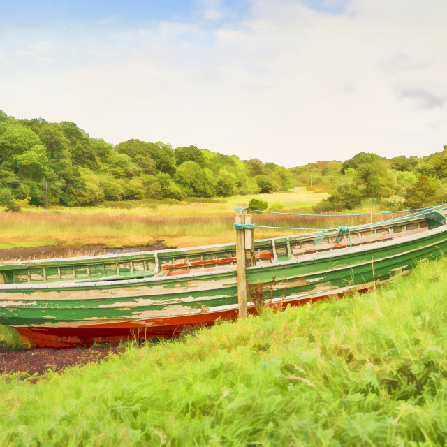 """Moored red & green wooden rowing boat"" stock image"