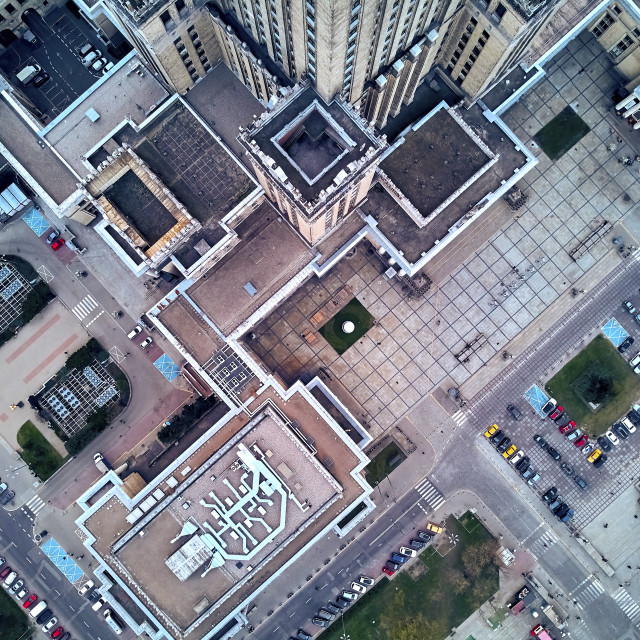 """WARSAW, POLAND - APRIL 07, 2019: Beautiful panoramic aerial drone view to the center of Warsaw City and Palace of Culture and Science - a notable high-rise building in Warsaw, Poland"" stock image"