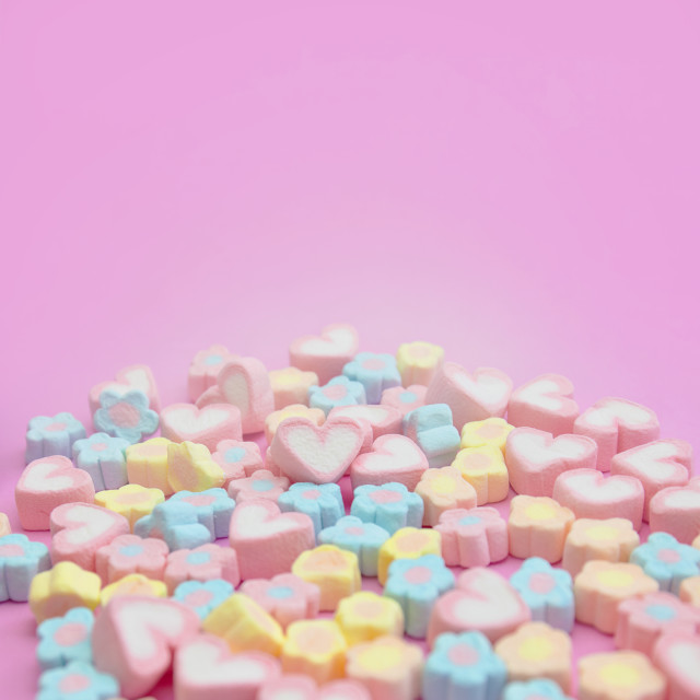 """Selective focus of sweet pastel color of marshmallows on pink background"" stock image"