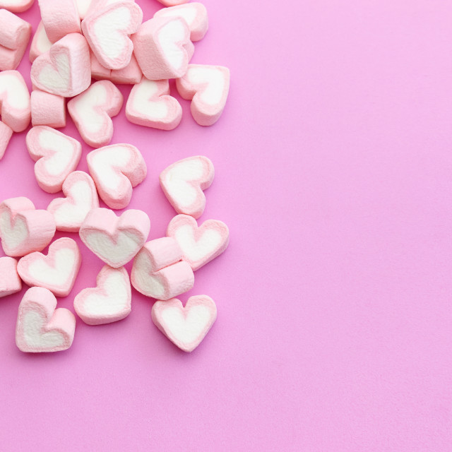 """Flat lay template design top view pink marshmallows on sweet background with copy space"" stock image"