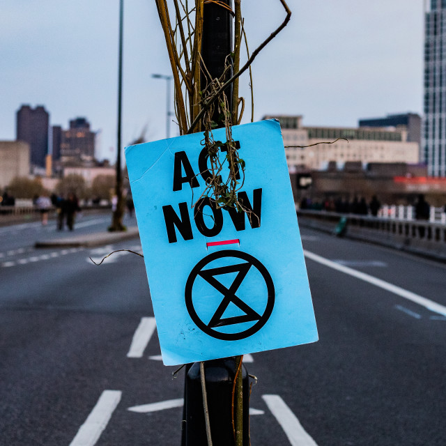 """Extinction Rebellion - Waterloo Bridge"" stock image"