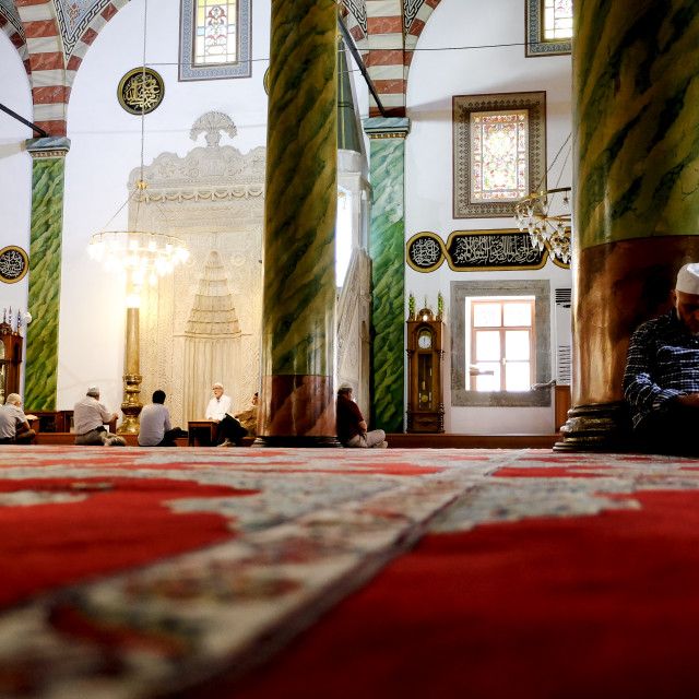"""""""Muslim man sleeping in a mosque in Trabzon"""" stock image"""