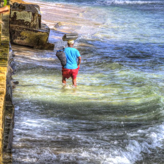 """""""Beach Seller Barbados"""" stock image"""