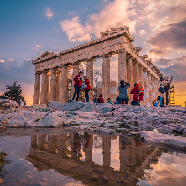 """Acropolis at sunset"" stock image"