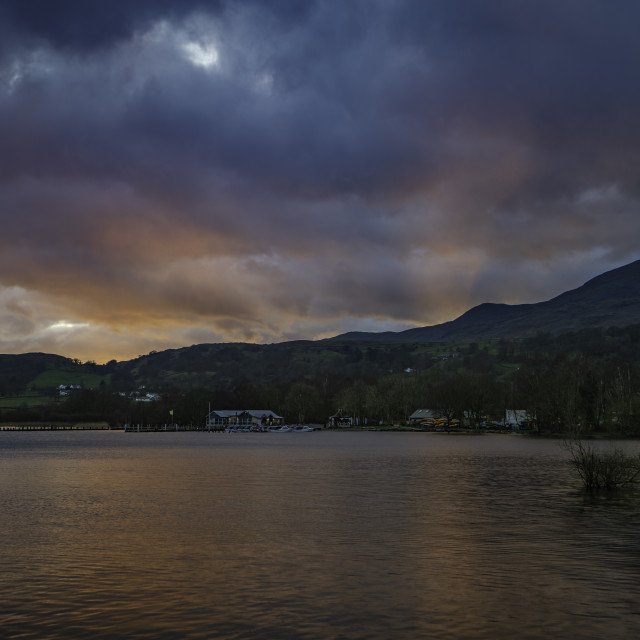 """Coniston Water Sunset"" stock image"