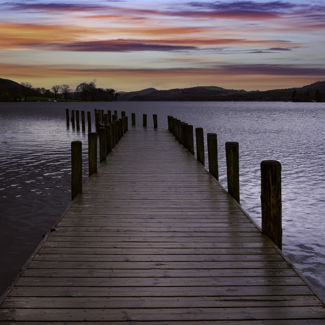 """""""Coniston Water Sunset"""" stock image"""