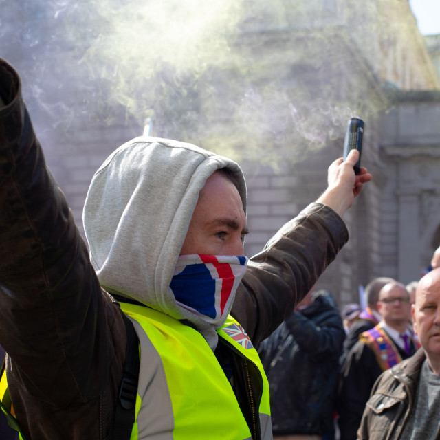 """13TH APRIL YELLOW VEST PROTESTS"" stock image"