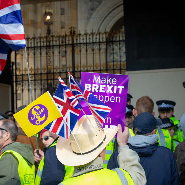 """13TH APRIL YELLOW VEST PROTESTS - Houses of Parliament"" stock image"
