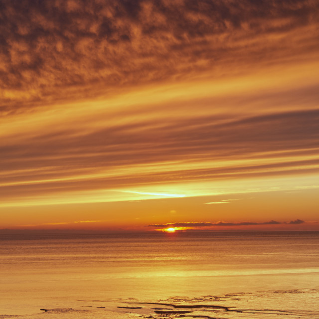 """Sunset, Solway Firth, Dumfriesshire, Scotland, winter"" stock image"