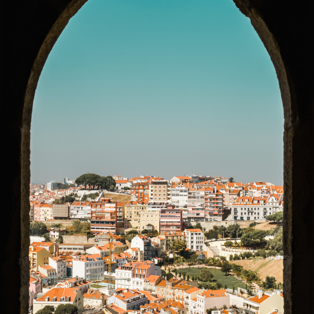 """Aerial View Of Lisbon City Rooftops In Portugal"" stock image"