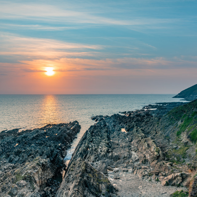 """Sunset, Croyde, Devon, England"" stock image"