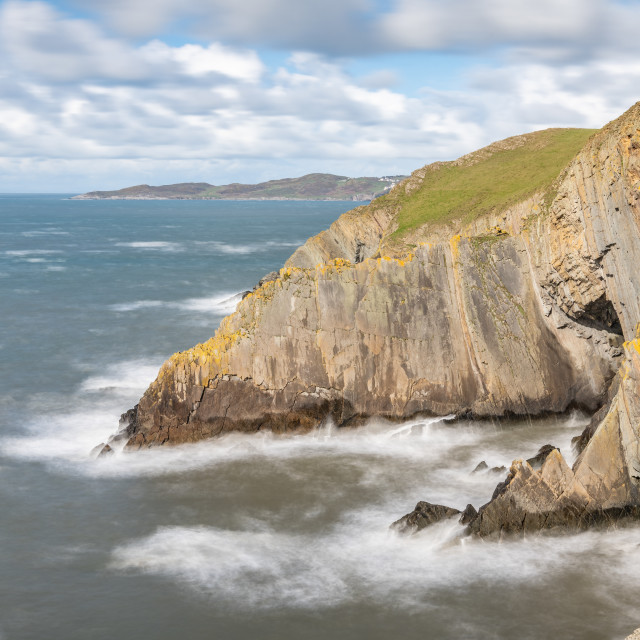 """Cliffs at Baggy point, Devon, England"" stock image"
