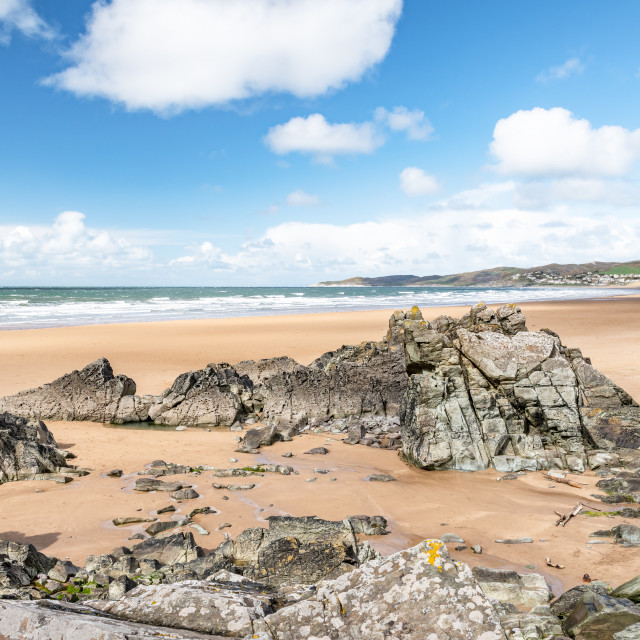 """Putsborough and Woolacombe Beach"" stock image"
