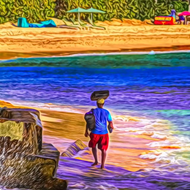 """""""Barbados Beach Vendor Art"""" stock image"""
