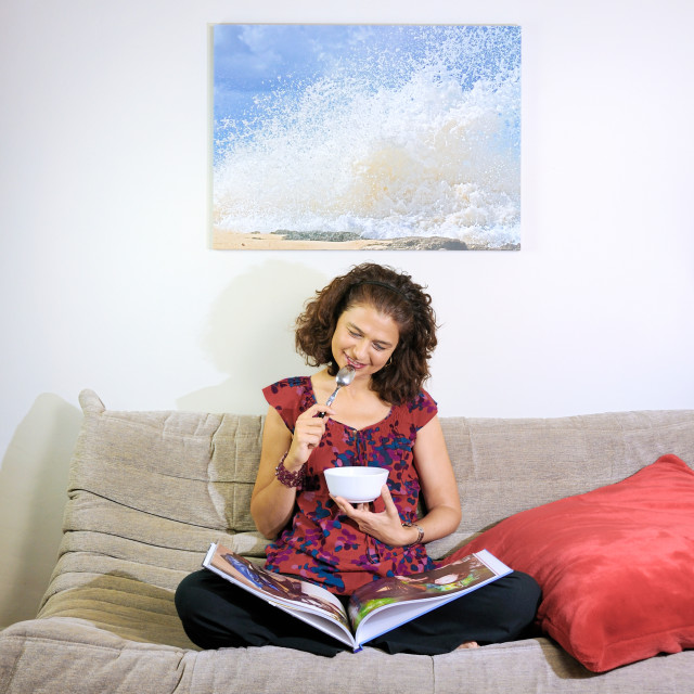 """""""Woman on a couch"""" stock image"""