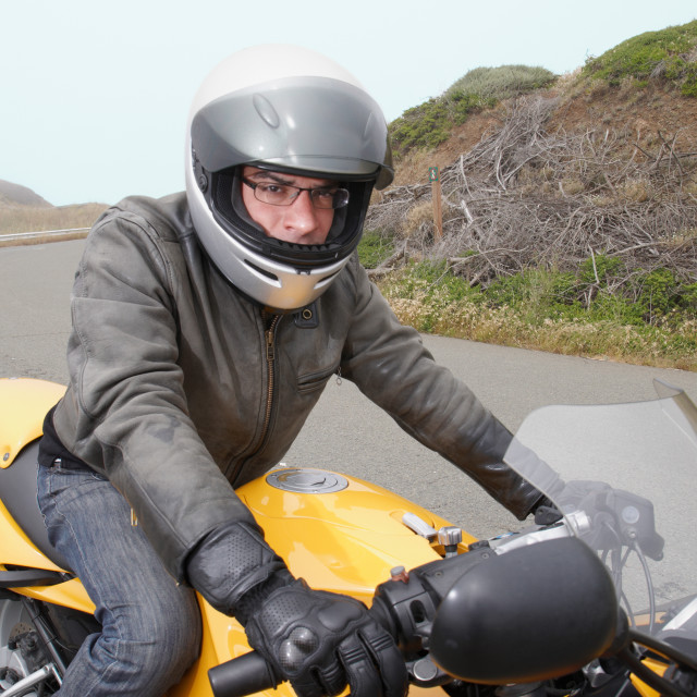 """""""Motorcyclist ready to ride"""" stock image"""