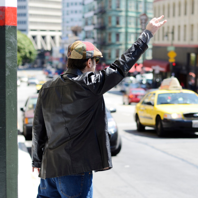 """""""Hailing a taxi cab"""" stock image"""