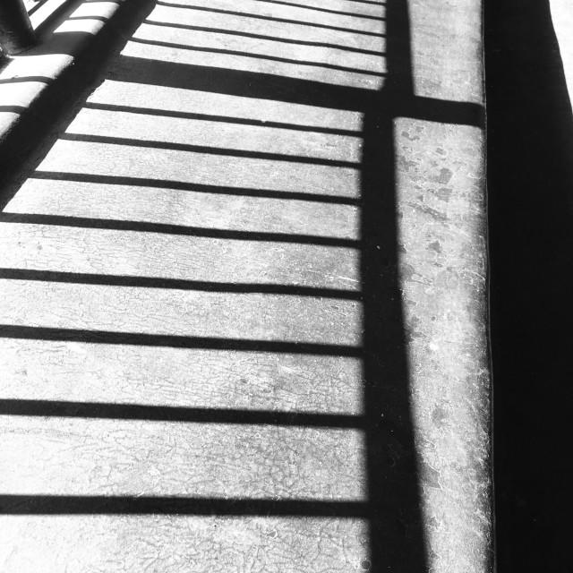 """Shadows. of railings."" stock image"