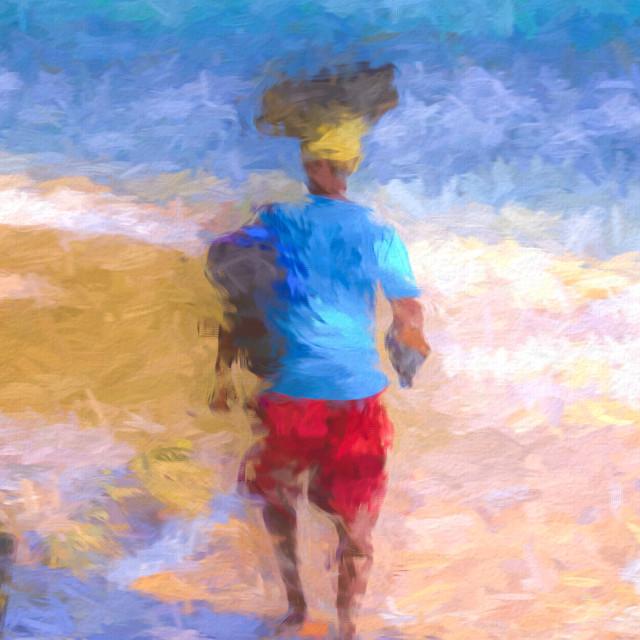 """""""Barbados Beach Vendor Abstract"""" stock image"""