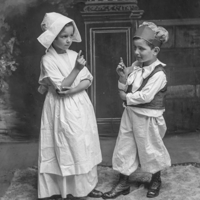 """""""Antique Portrait - Children in a play"""" stock image"""