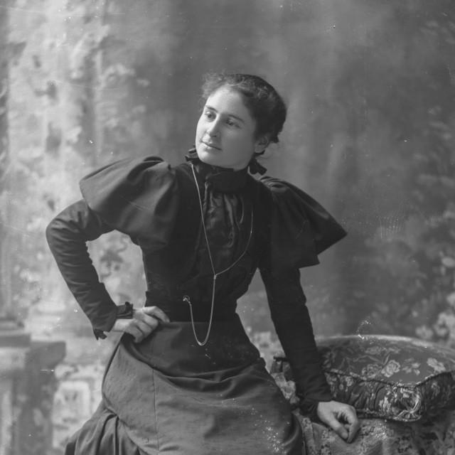 """Antique portrait of elegant young woman"" stock image"
