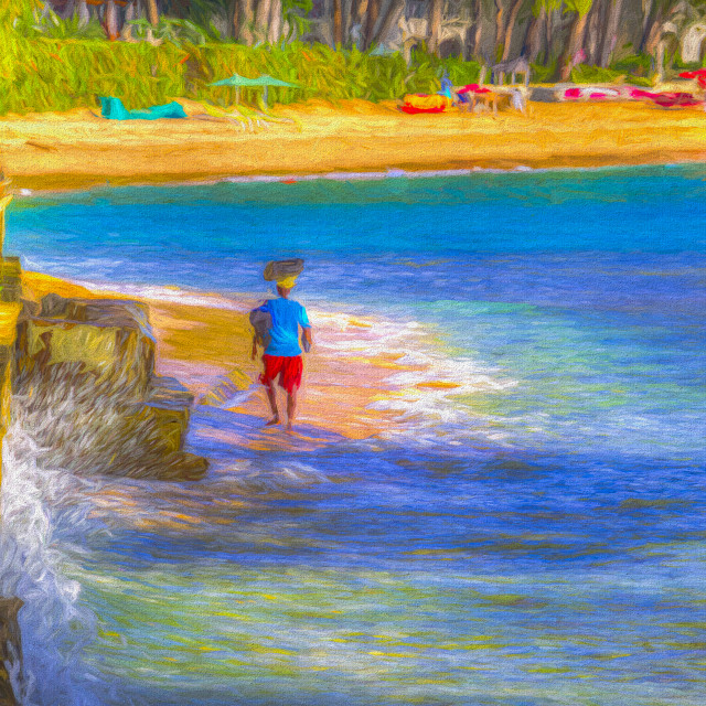 """Barbadian Beach Vendor Art"" stock image"