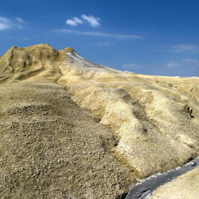"""Mud volcano and dry crust"" stock image"