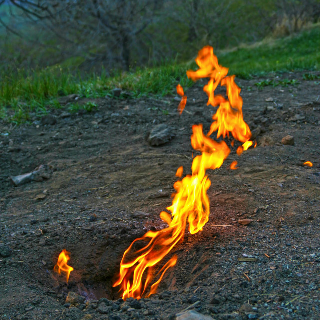 """""""Living fire, natural gases burning"""" stock image"""