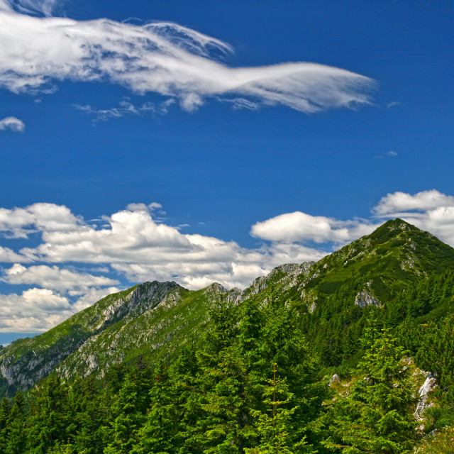 """""""Summer mountain crest and blue sky"""" stock image"""