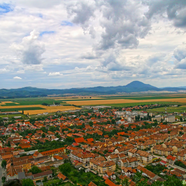 """""""Small city landscape rounded by fields"""" stock image"""