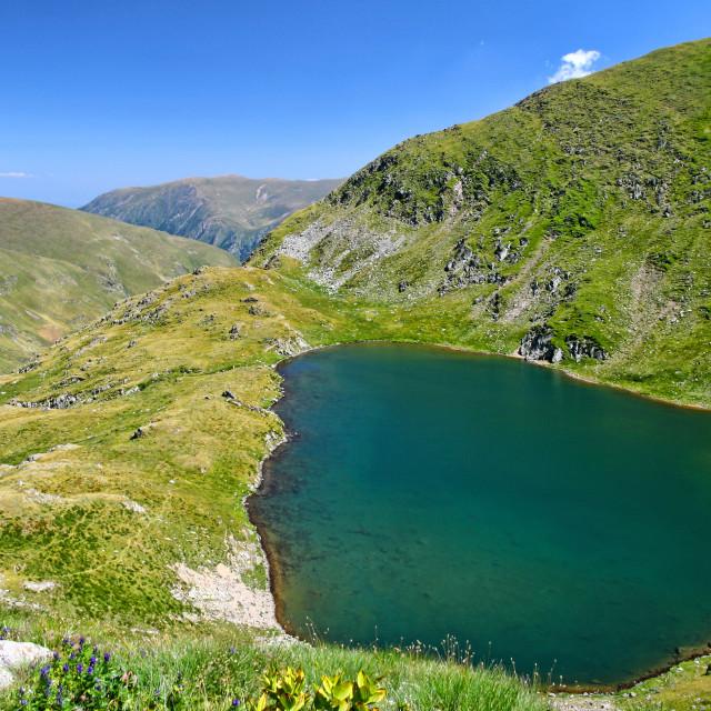 """Clear alpine lake scene in Romanian Carpathians"" stock image"