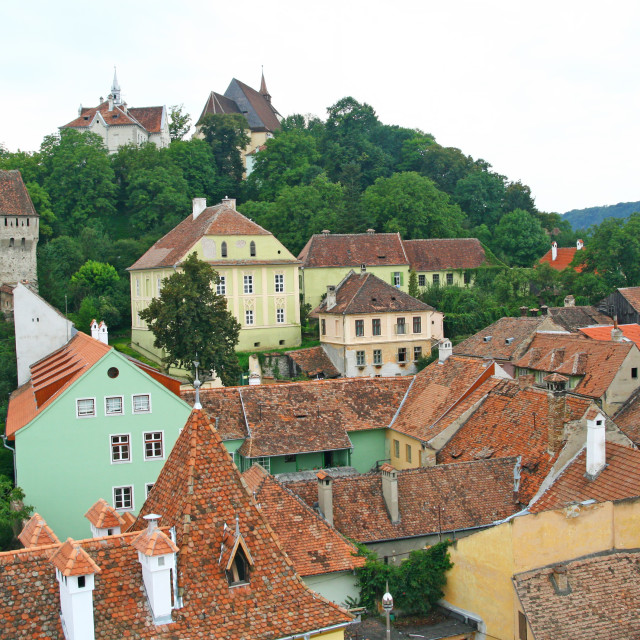 """""""Aerial view of old city of Sighisoara"""" stock image"""