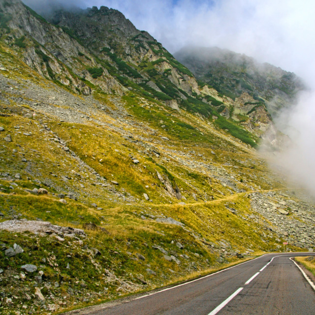 """""""Alpine road in summer mountain"""" stock image"""
