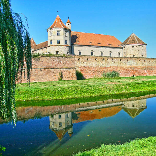 """""""Summer scene with mirroring fortress"""" stock image"""