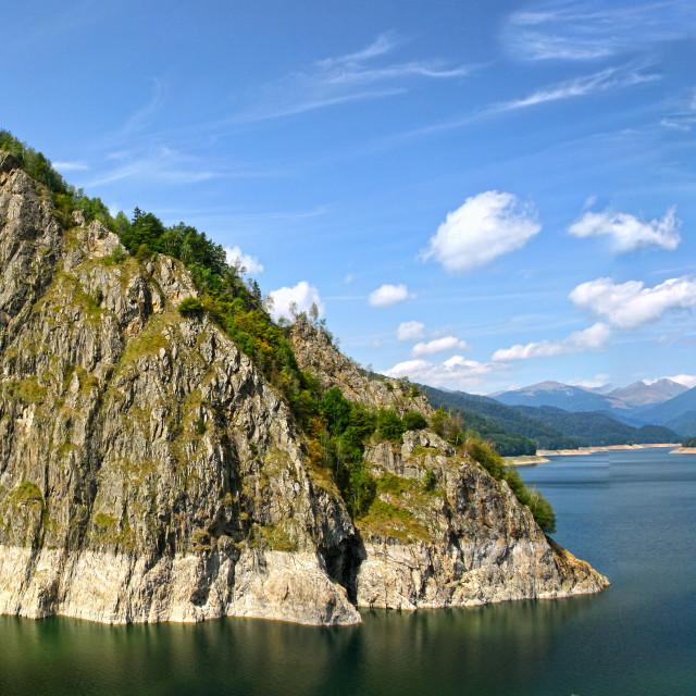 """Energy dam and rocky mountain"" stock image"