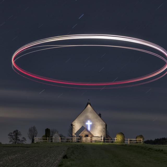"""Drone Halo over Idsworth Church in hampshire"" stock image"
