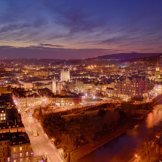 """The Night Lights of bath in Somerset"" stock image"