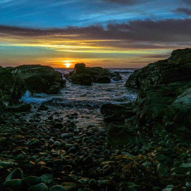"""""""First Light on King Island"""" stock image"""