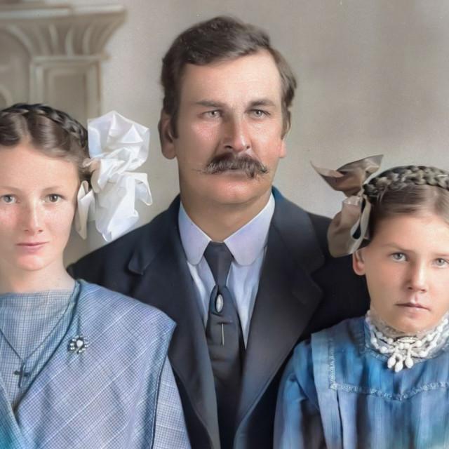 """""""Antique Family Portrait - colorized"""" stock image"""