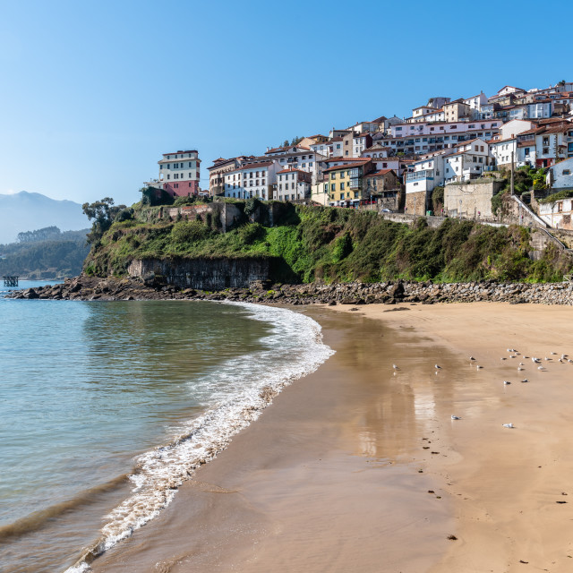 """""""Scenic view of the fishing village of Lastres"""" stock image"""
