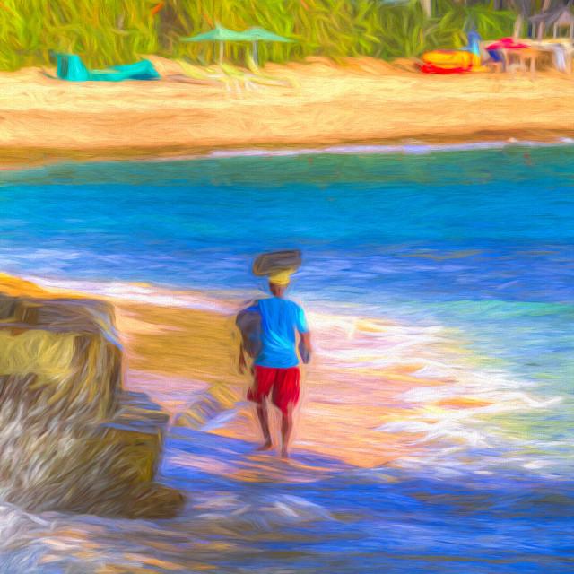 """""""Barbados Beach Art"""" stock image"""