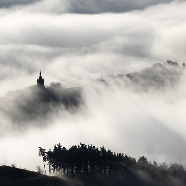 """mist over church"" stock image"