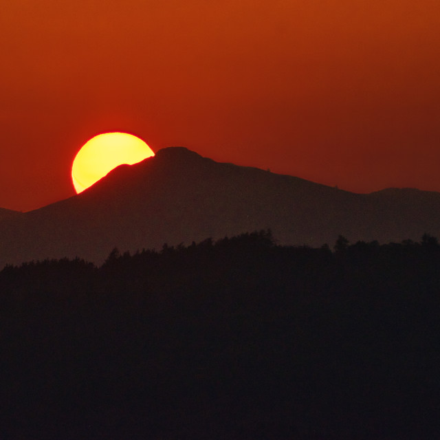 """""""Sunset behind the Mither Tap on Bennachie"""" stock image"""
