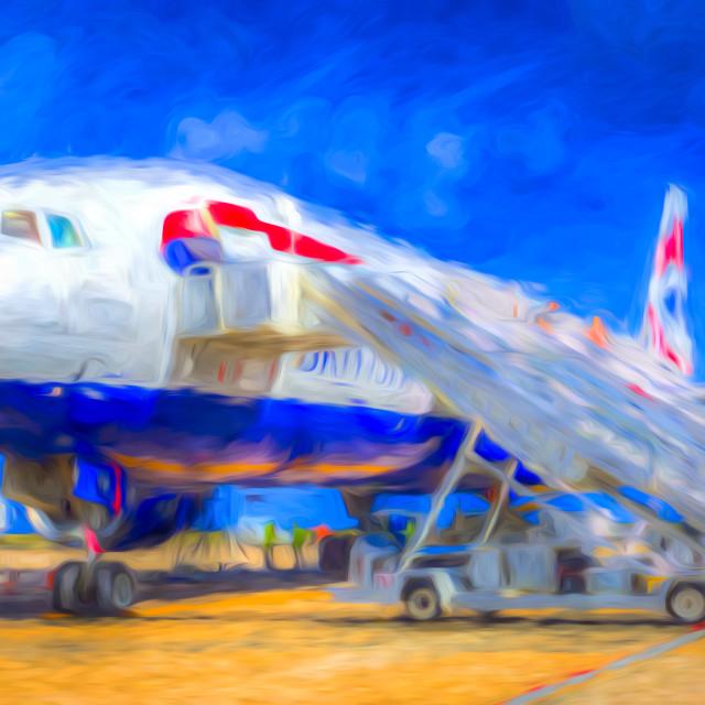 """British Airways Boeing 777 Art"" stock image"
