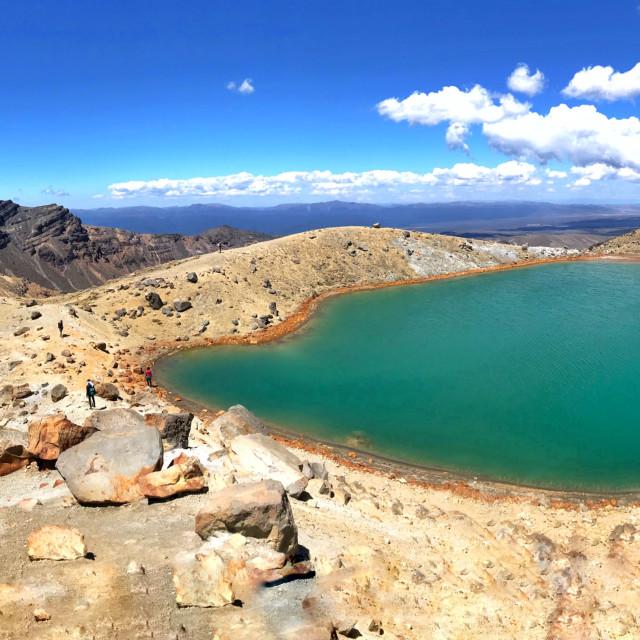 """Scenic view of Emerald Lakes, Tongariro National Park, New Zealand"" stock image"