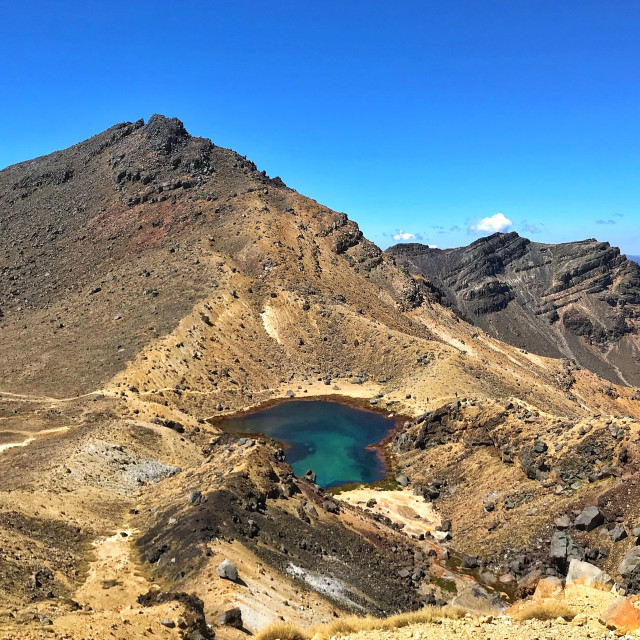 """Scenic view of Emerald Lake, Tongariro National Park, New Zealand"" stock image"
