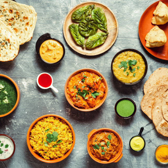 """Indian food and indian cuisine dishes, top view"" stock image"