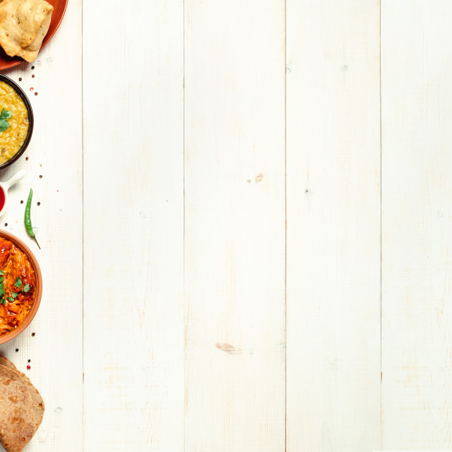 """Indian food and indian cuisine dishes, copy space"" stock image"
