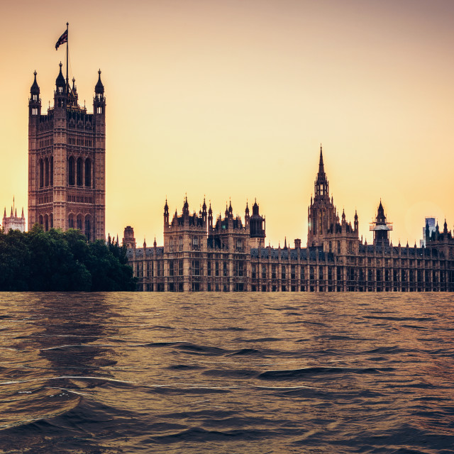"""""""Digital manipulation of flooded Houses of parliament at sunset, London, UK"""" stock image"""